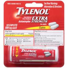 Tylenol Pain Reliever Fever Reducer Caplets 10 ct Carded Pack