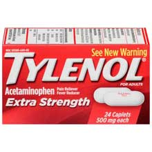 Tylenol Extra Strength Pain Reliever Fever Reducer 500mg Caplets 24 ct Box