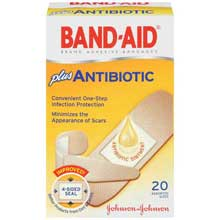 Band-Aid Adhesive Bandages plus Antibiotic Assorted Sizes 20 ct Box