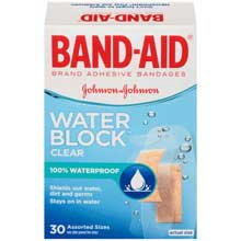 Band-Aid Brand Adhesive Bandages Water Block Clear Assorted Sizes 30 ct Box