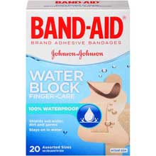 Johnson and Johnson Band-Aid Brand Water Block Finger-Care Adhesive Bandages Assorted Sizes 20 ct Box