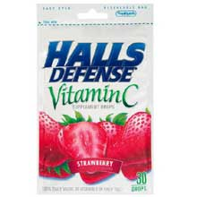 Halls Defense Strawberry - 30 count bag
