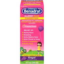 Childrens Benadryl Allergy Plus Congestion Grape Flavored Liquid 4 fl oz. Box