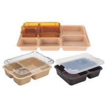 Tan Co Polymer Three Compartment Meal Delivery Tray