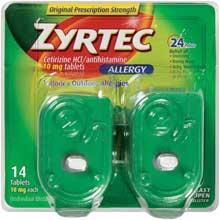 Zyrtec Allergy Cetirizine HCl antihistamine 10 mg tablets 14 ct
