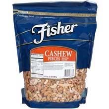 Fisher Large Roasted Cashew Nut Piece 2 Pound 3 per case