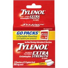 Tylenol Caplets Extra Strength 500mg Caplets 3-2 ct Pouches