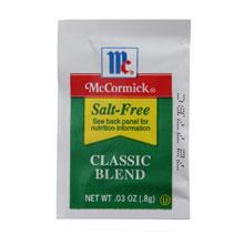 Salt McCormick Salt Free Classic Blend Seasoning - 0.03 oz. packet