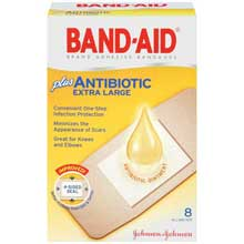 Band-Aid Extra Large Adhesive Bandages plus Antibiotic 8 ct Box