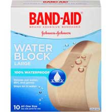 Johnson and Johnson Band-Aid Brand Water Block Large Adhesive Bandages All One Size 10 ct Box
