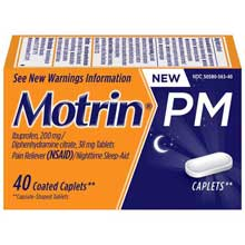 Motrin Coated Caplets PM 40 Ct Box