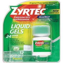 Zyrtec Allergy Cetirizine HCl antihistamine 10 mg Capsules Liquid Gels 12 ct