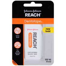 Johnson and Johnson Reach Dentotape Unflavored Waxed Tape 100 yd. Pack