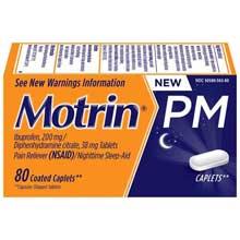 Motrin Coated Caplets PM 80 Ct Box