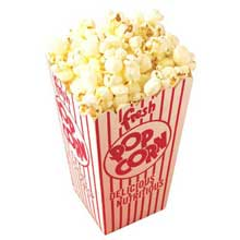 Red and White Stripe Quick Fill Scoop Popcorn Box 2.500 x 3.500 x.6.250 inch