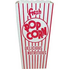 Red and White Stripe Quick Fill Scoop Popcorn Box 3.000 x 4.000 x 8.000 inch