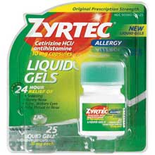 Zyrtec Allergy 24 Hour 10mg Liquid Gels 25 Ct Carded Pk