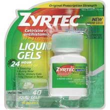 Zyrtec Allergy Cetirizine HCl antihistamine 10 mg Capsules Liquid Gels 40 ct