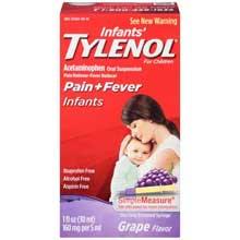 Infants Tylenol Pain plus Fever Infants Grape Flavor Liquid 1 fl. oz. Box
