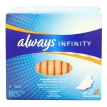 Infinity Overnight Unscented Pads with Wings