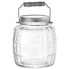 Clear Glass Barrel Jar with Metal Lid
