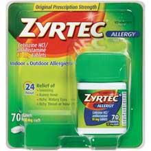 Zyrtec Allergy Cetirizine HCl antihistamine 10 mg tablets 70 ct