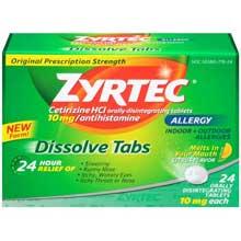 Zyrtec Allergy Citrus Flavor Dissolve Tabs 24 ct. Box