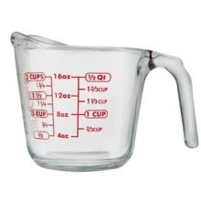Red Decoration Clear Glass Measuring Cup 16 Ounce