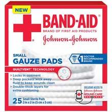 Johnson and Johnson First Aid 2 x 2 Gauze Pads 25 ct Box