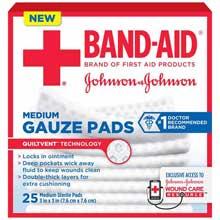 Johnson and Johnson First Aid 3x3 Gauze Pads 25 ct Box