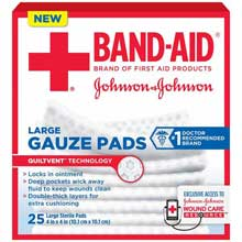 Johnson and Johnson First Aid 4 x 4 Gauze Pads 25 ct Box