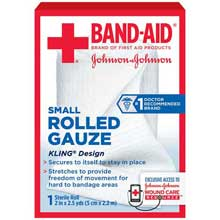 Johnson and Johnson First Aid 2 in. x 2.5 yd. Small Rolled Gauze 1 ct Box