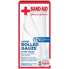 Johnson and Johnson First Aid 4 in. x 2.5 yds. Large Rolled Gauze 1 Count Box