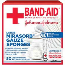 Johnson and Johnson First Aid 4 in. x 4 in. Mirasorb Gauze Sponges 50 ct Box