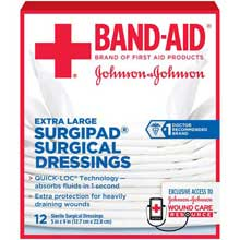 Johnson and Johnson First Aid 5 in. x 9 in. Surgipad Surgical Dressings 12 ct Box