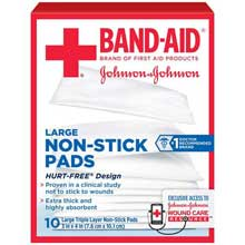 Johnson and Johnson First Aid 3 in. x 4 in. Large Non-Stick Pads 10 ct Box