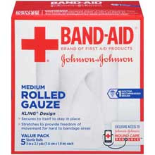 Johnson and Johnson Band-Aid Brand First Aid Products Medium Rolled Gauze 3 in. x 2.1 yd. Rolls 5 ct Box