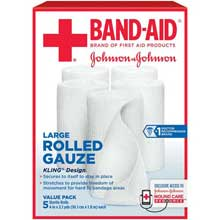 Johnson and Johnson First Aid 4 in. x 2.1 yd. Large Rolled Gauze 5 ct Box
