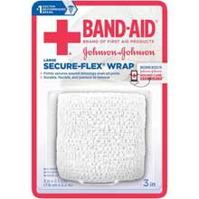 Johnson and Johnson First Aid 3 in. x 2.5 yd. Secure-Flex Wrap 1 ct Carded Pack