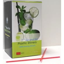 Red Unwrapped Sip and Stirrer Straws