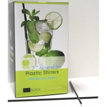 Plastic Black Unwrapped Sip and Stirrer Straws