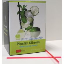 Plastic Red Unwrapped Sip and Stirrer Straw