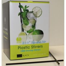 Plastic Black Unwrapped Sip and Stirrer Straw