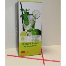 Red Unwrapped Slim Stirrer Straight Straws