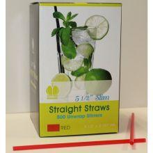 Red Unwrapped Slim Stirrer Straight Straw
