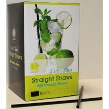 Black Unwrapped Slim Stirrer Straight Straw