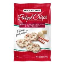 Holiday White Chocolate and Peppermint Pretzel Crisps