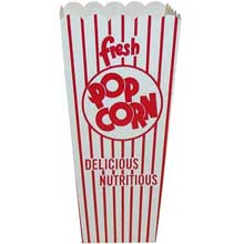 Red and White Stripe Quick Fill Scoop Popcorn Box