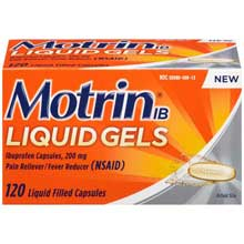 Motrin IB Liquid Gels Ibuprofen Pain Reliever  Fever Reducer Capsules 120 ct Box