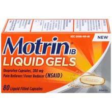 Motrin IB Liquid Gels Ibuprofen Pain Reliever  Fever Reducer Capsules 80 ct Box